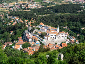 Birds-eye view of Sintra town center from Moorish Castle walls during 1 day Sintra itinerary