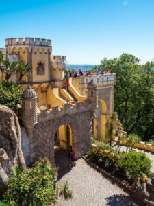 Pena Palace yellow tower and gate viewed from above