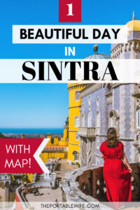 1 Day Sintra Itinerary - girl standing on balcony overlooking Pena Palace