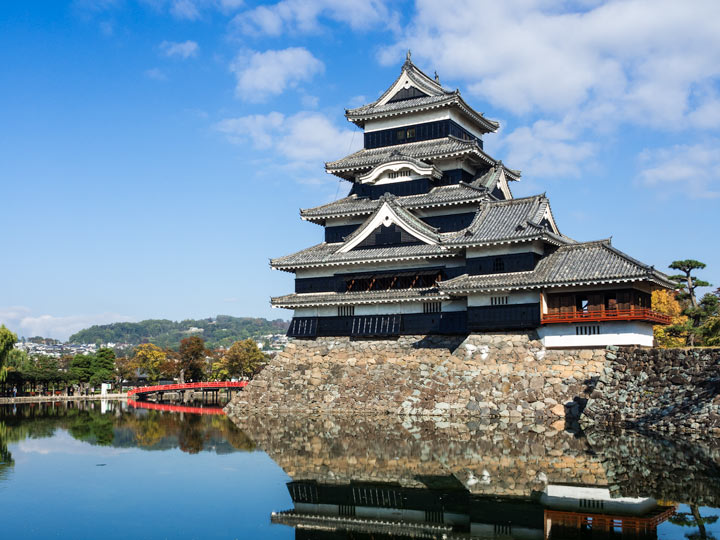 Matsumoto Castle and reflecting pond against blue sky