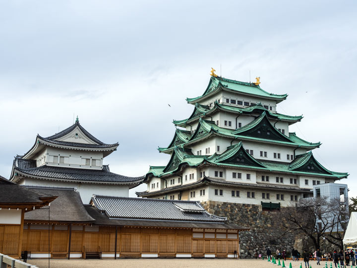 Nagoya Castle complex on a cloudy day