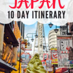 The Ultimate Japan 10 Day Itinerary - Matcha ice cream cone with Osaka Shinsekai street in background