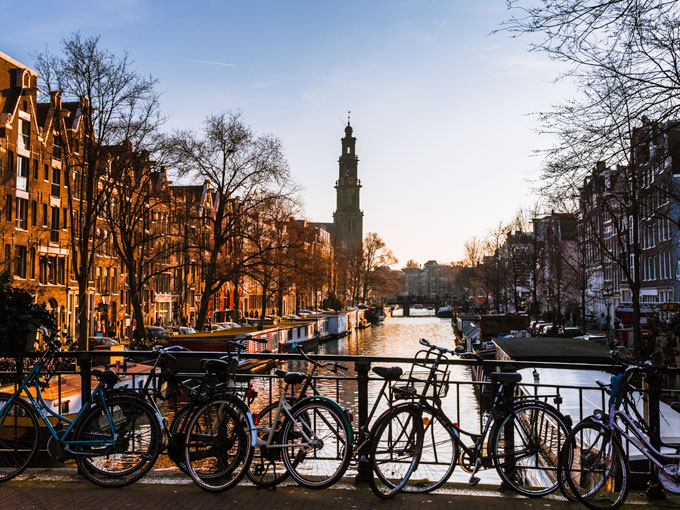 The 9 Streets at sunset, a must see on a 2 day Amsterdam itinerary