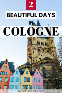 2 days in Cologne itinerary - church tower with colorful buildings