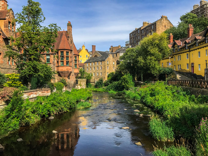 Dean Village cottages and canal, a popular place to visit during 2 days in Edinburgh