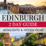 2 Days in Edinburgh Guide: Highlights and Hidden Gems - Edinburgh skyline at sunrise with Dean Village cottages
