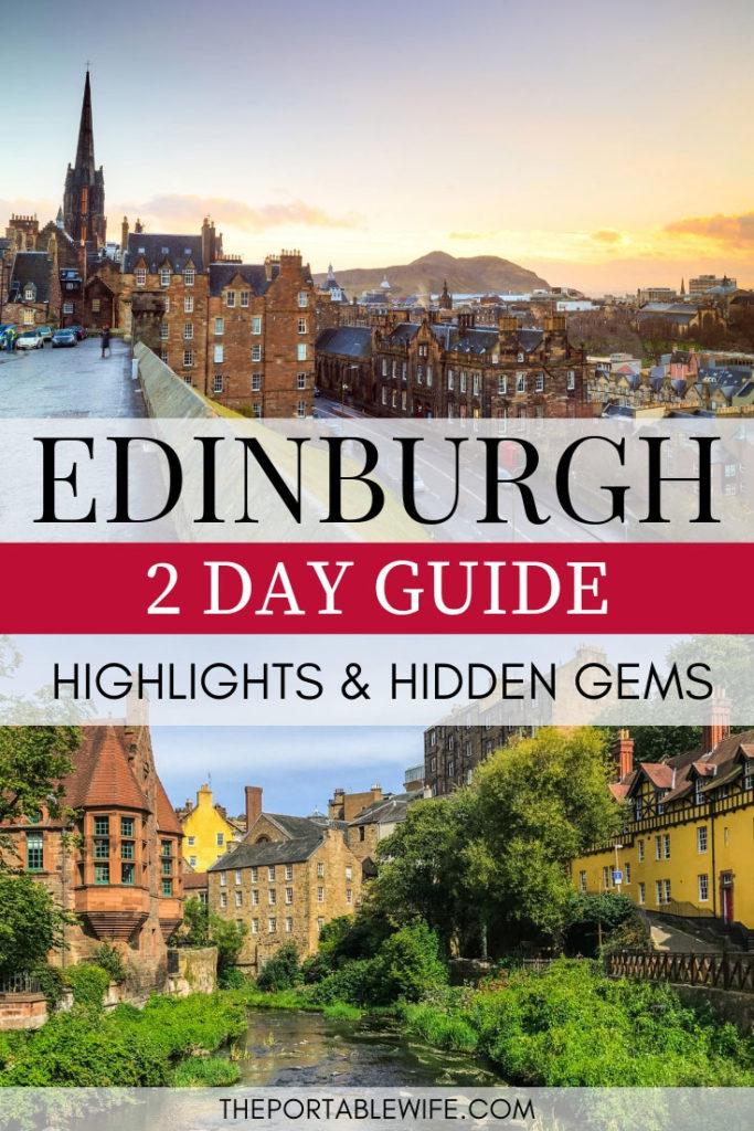 2 Days in Edinburgh Guide: Highlights and Hidden Gems - Edinburgh skyline at sunrise with Dean Village cottages