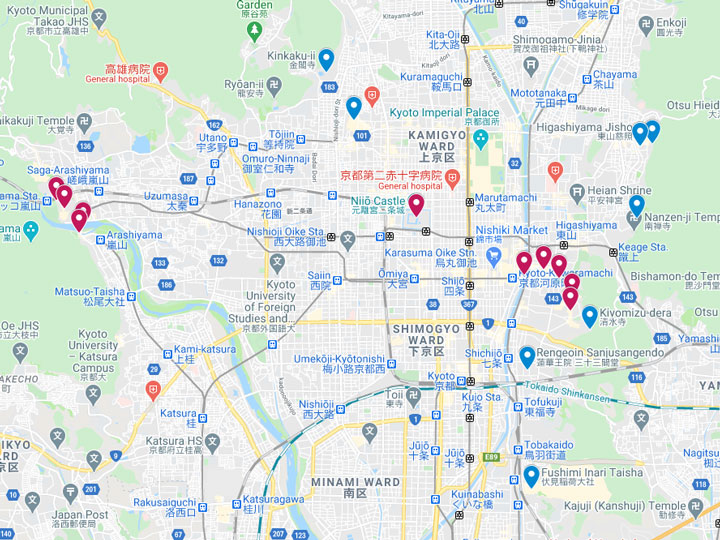 Google Maps snapshot of 2 days in Kyoto itinerary map