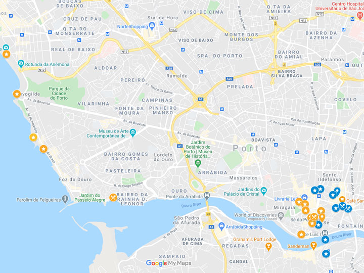 Google Maps snapshot of 2 days in Porto itinerary map