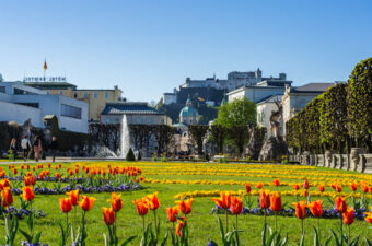2 Days in Salzburg Itinerary - tulips view of Mirabell Gardens