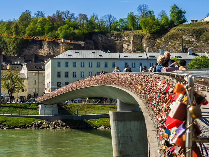 Salzburg love lock bridge spanning the Salzach river