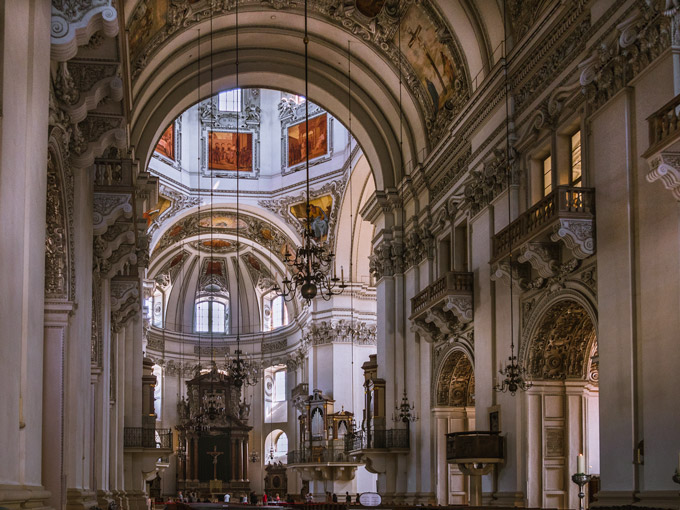 Interior of Salzburg Cathedral with ornate carvings, a must see for a Salzburg itinerary