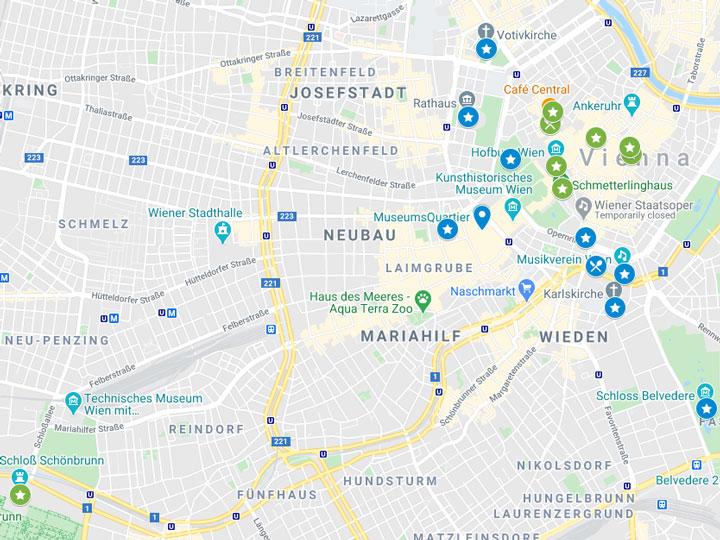 Google Maps snapshot of 2 days in Vienna itinerary map