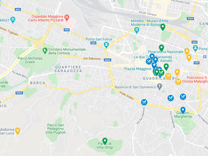 Google Maps snapshot of 3 days in Bologna itinerary