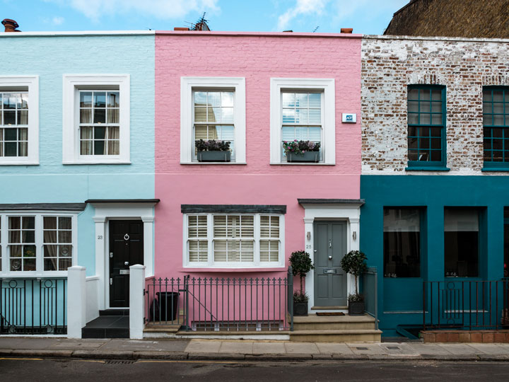 Pink and blue Notting Hill homes in London