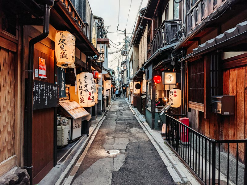 Pontocho alley with lanterns in Kyoto Japan