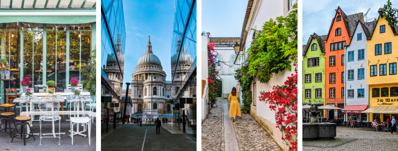 Paris Cafe. St. Paul's Cathedral with blue sky. Alleyway with girl in yellow dress. Multi-colored houses in Germany.