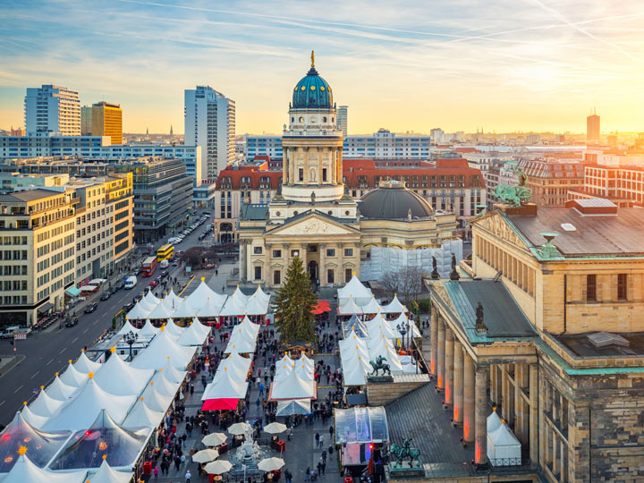 Aerial view of market in Berlin off the beaten path