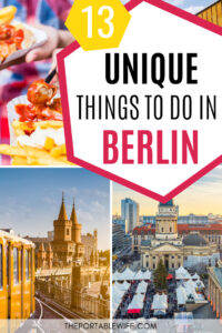 13 Unique things to do in Berlin - collage of currywurst, yellow train, and Berlin market aerial view