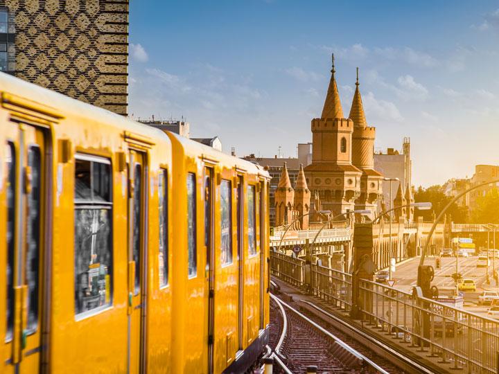 Berlin yellow tram car heading towards city center