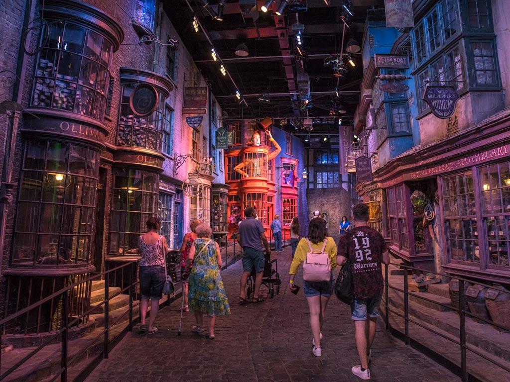 Inside Diagon Alley studio at Warner Bros Making of Harry Potter.