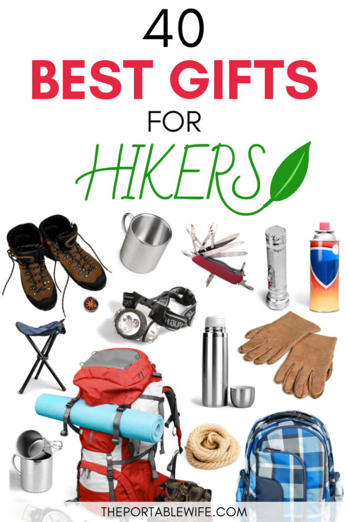 40 Best Gifts for Hikers - hiking boots, pan, gloves, and other hiking gear on white background