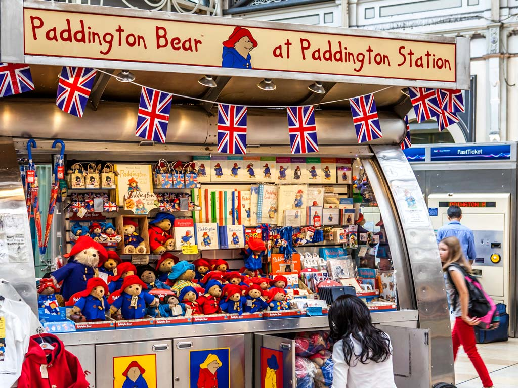 Paddington Bear store with stuffed bear toys and souvenirs.