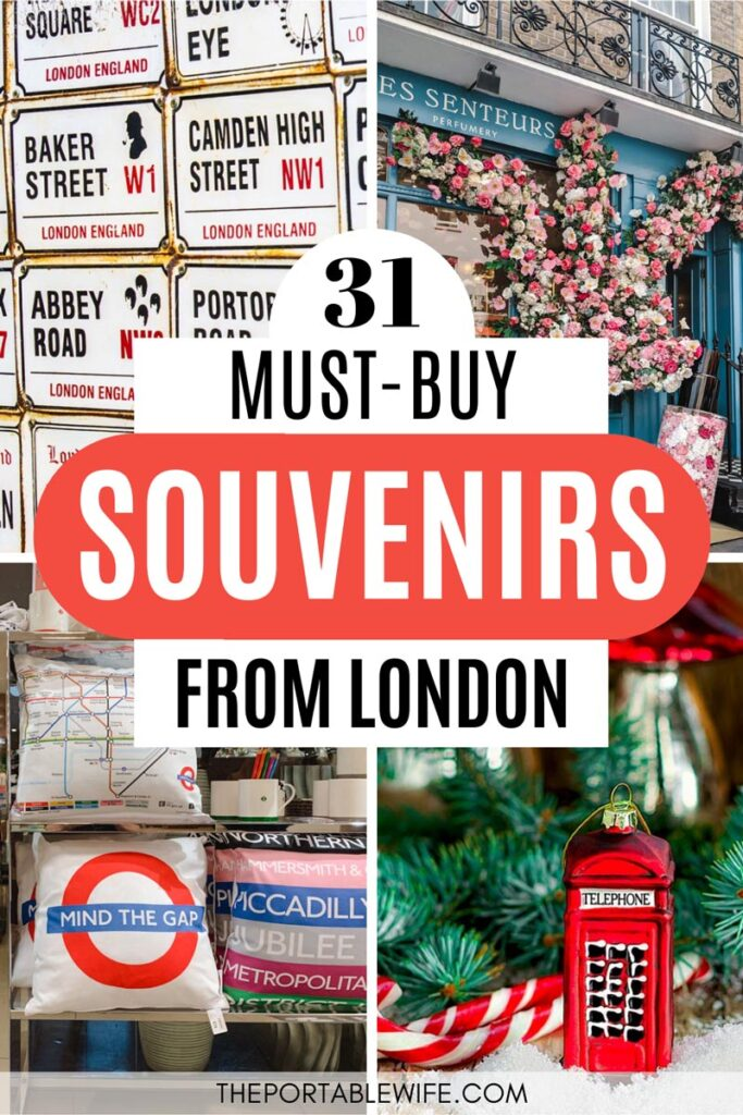 """Collage of street signs, pillows, and red phone box ornament, with text overlay - """"31 must buy souvenirs from London""""."""