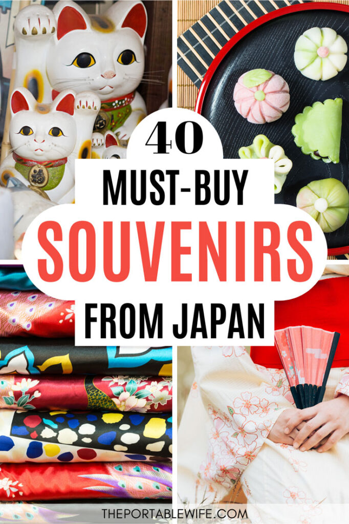 40 Must Buy Souvenirs from Japan - collage of lucky cats, candy, scarves, and fan