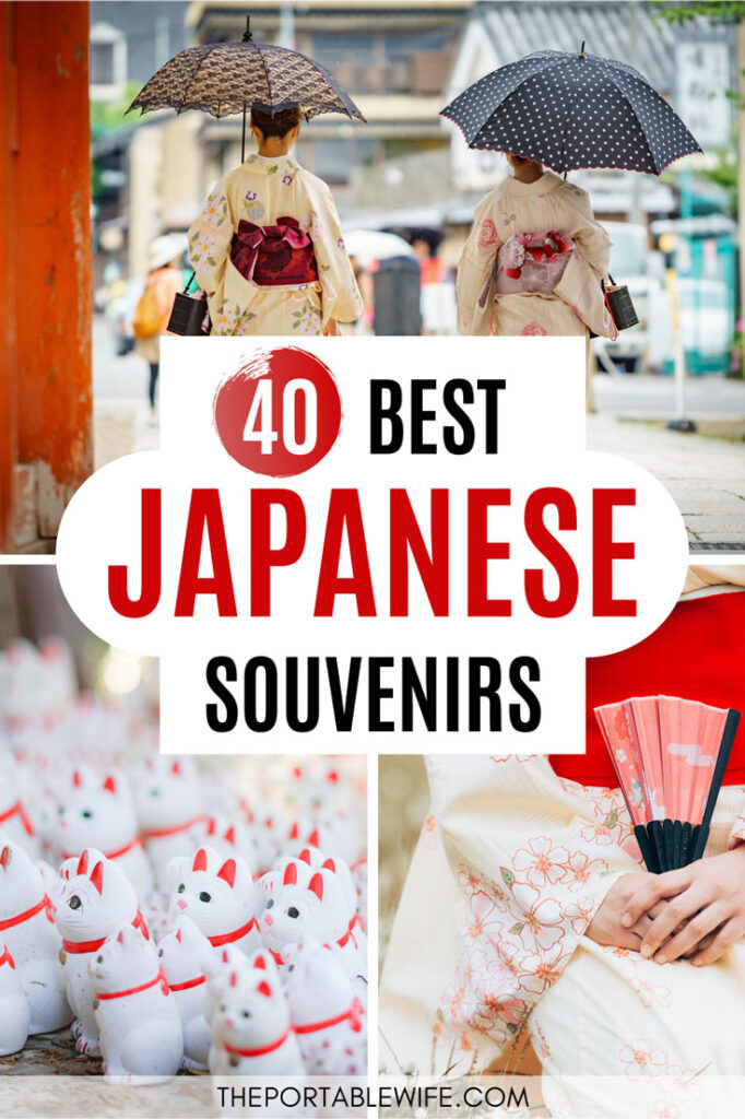 40 Best Japanese Souvenirs - collage of women in kimono, lucky cats, and woman holding fan