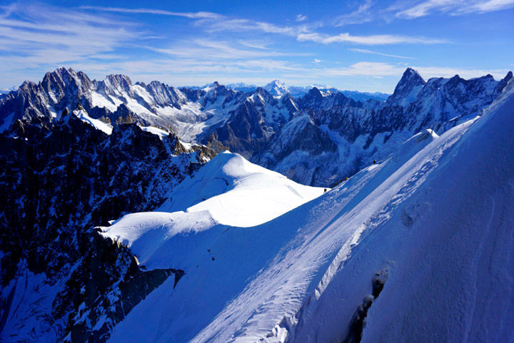 Snowy mountains on sunny day in Chamonix, a popular winter holiday destinations in Europe for skiers