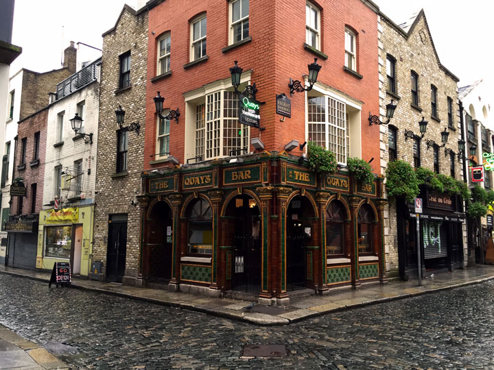 Corner view of The Quays Bar exterior in Dublin, one of the top European cities to visit in winter