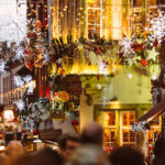 Strasbourg street decorated with Christmas lights, one of the best winter city breaks in Europe