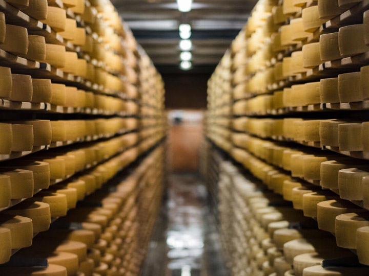 Vault with rows of cheese wheels in Gruyeres Switzerland