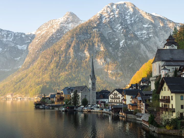 Panorama of Hallstatt Austria village houses with lake and mountain
