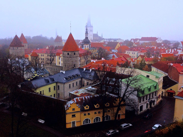 Aerial view of Tallinn in winter with fog