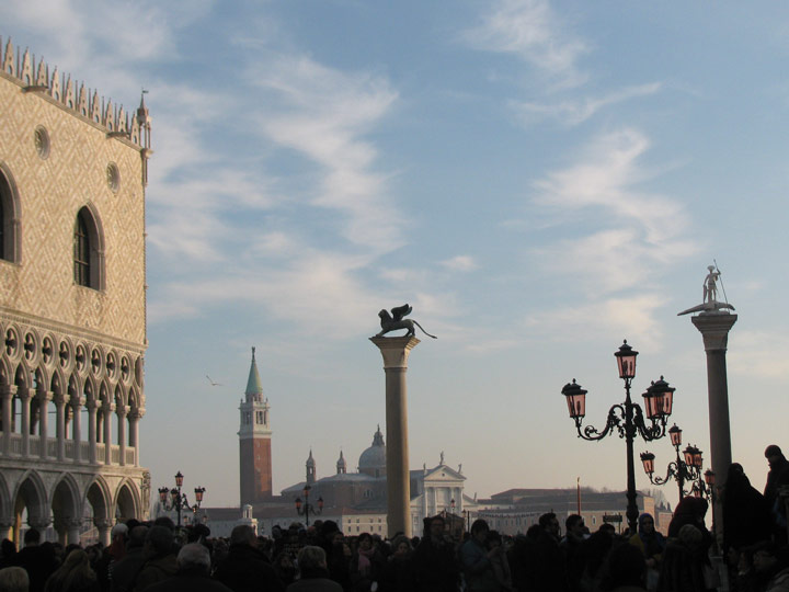 Venice square just before sunset during winter