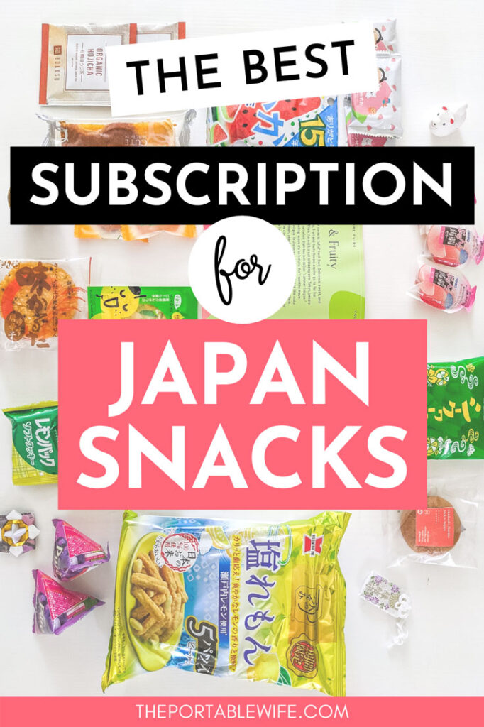 """Flat lay of snack packages on white table, with text overlay - """"The best subscription for Japan snacks""""."""