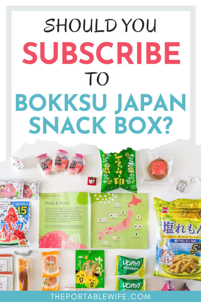 """Flat lay of snacks and small map of Japan, with text overlay - """"Should you subscribe to Bokksu Japan snack box?"""""""