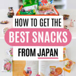 """Collage of Bokksu review snacks packages on table, with text overlay - """"How to get the best snacks from Japan""""."""