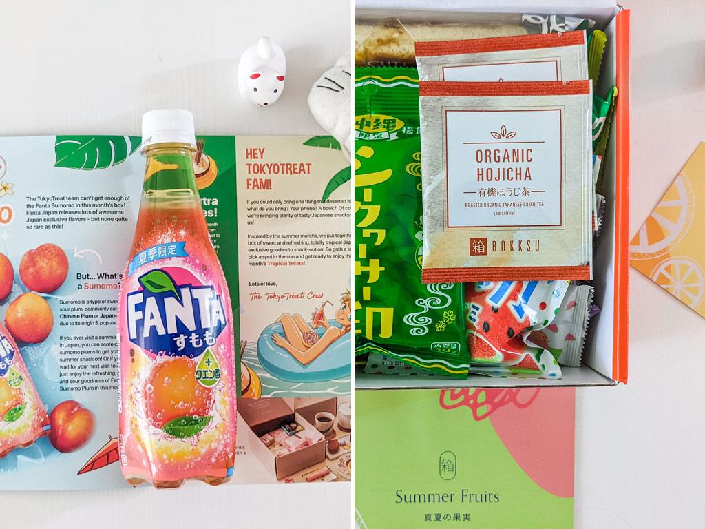 Split image showing Bokksu vs Tokyo Treat drinks included in subscription box: Fanta soda and hojicha tea.