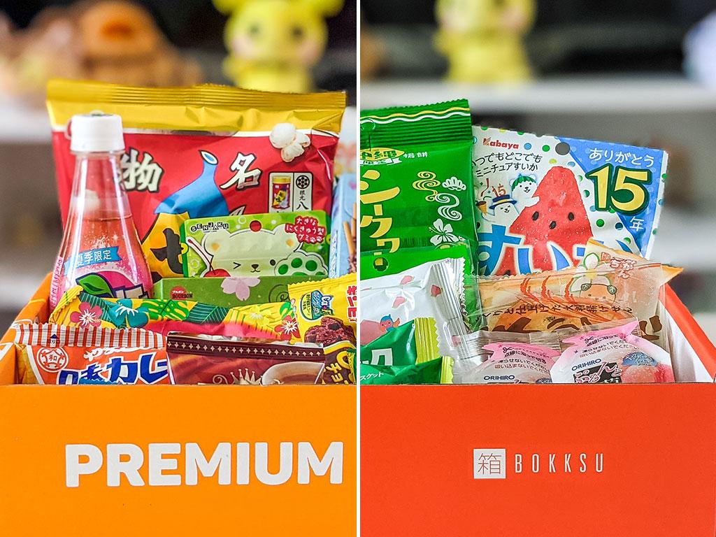 Split image showing Bokksu vs Tokyo Treat Japanese snacks inside orange boxes.