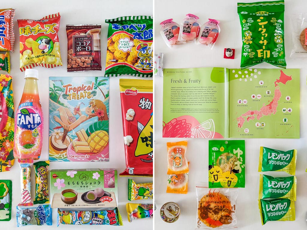 Flat lay of various Japanese snacks with colorful packages on white table.