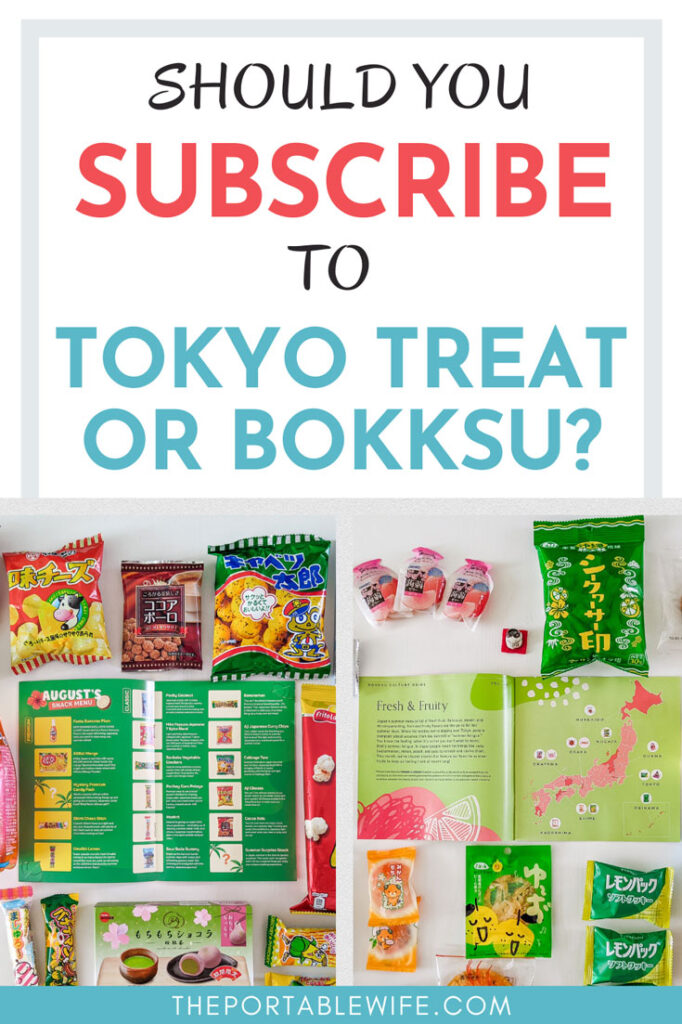 """Various Japanese snacks on table, with text overlay - """"Should you subscribe to Tokyo Treat or Bokksu?"""""""
