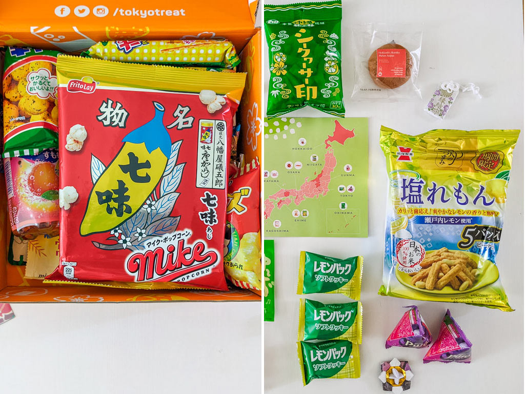 Flat lay of popcorn bag, crunchy lemon crackers, and other Japanese snacks.