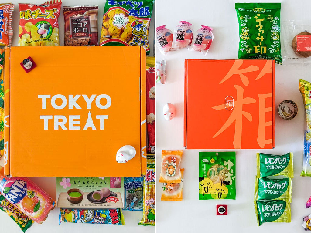 Split image of closed TokyoTreat box and Bokksu box surrounded by snack packages.