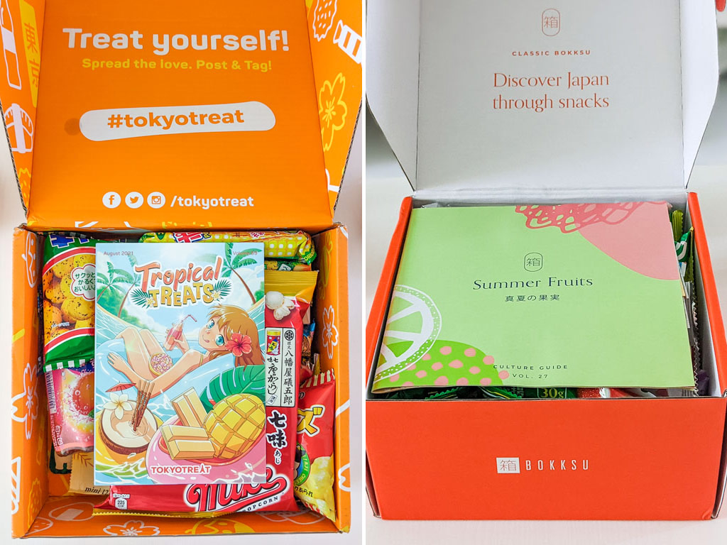Split image of TokyoTreat and Bokksu open boxes with snack guides on top.