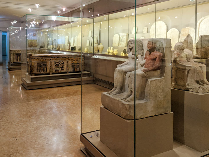 Egypt statue display inside Bologna Museum of Archaeology