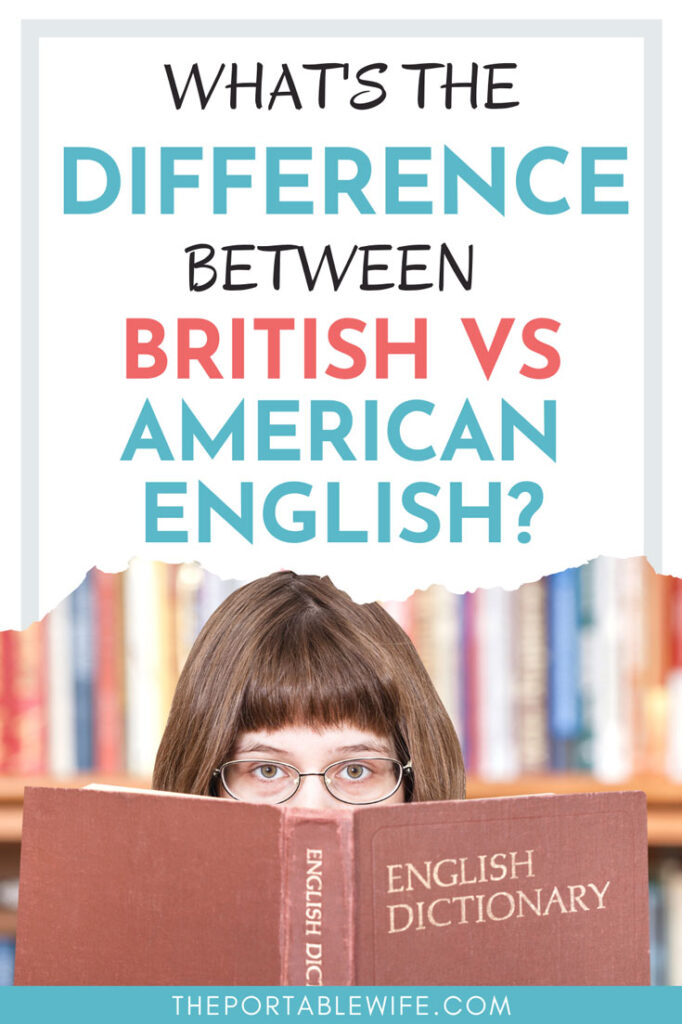 """Woman reading dictionary, with text overlay - """"What's the difference between British vs American English?"""""""
