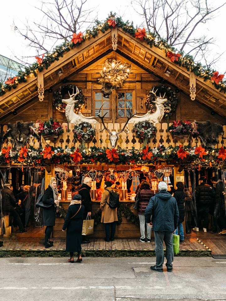 Decorated wood chalet in Munich, the last spot on this Christmas markets in Germany by train